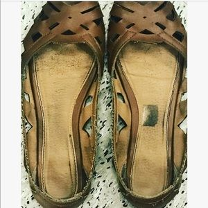 American Eagle Outfitters Shoes - American Eagle brown leather flats peep toe 8
